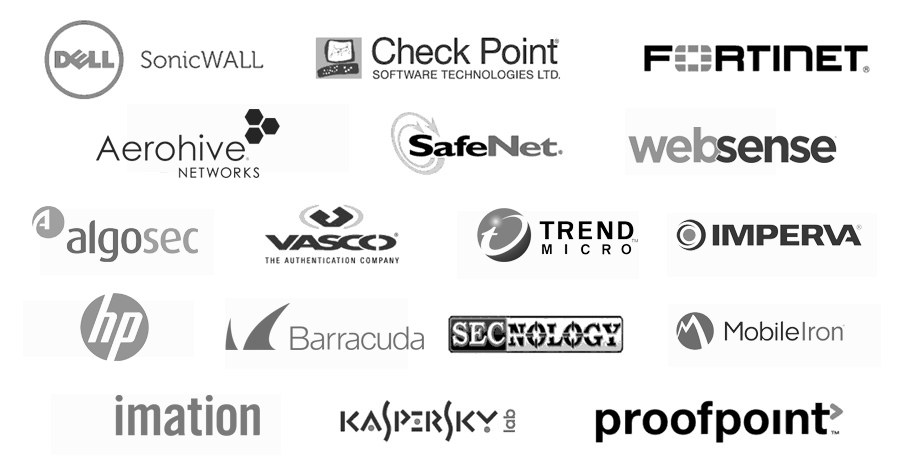 DELL SonicWALL, Check Point, Fortinet, Aerohive, Safenet-Gemalto, Websense, Algosec, Vasco, Trend Micro, Imperva, HP security, Barracuda, SECnology, MobileIron, Imation, Kaspersky Lab, Proofpoint